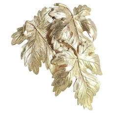 Triple Maple Leaf Gilt Brass Dress Clip