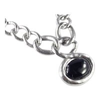 Les Bernard Glass Faux Onyx Cabochon Massive Chain Link Pendant Necklace