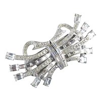 Art Moderne Rhinestone Duette Dress Clips Brooch Pin