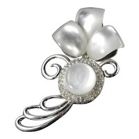 "Art Moderne Lucite Moonglow Rhinestone 4"" Brooch Pin"