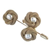 Miriam Haskell Gilt Mesh Baroque Faux Pearl Stickpin Lapel Brooch Earrings Set