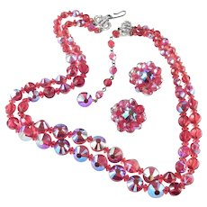 Hobe Red Crystal Glass Bead Necklace Earrings Demi Parure Set