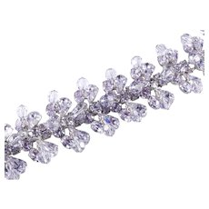 Kramer New York Wide Rhinestone Glass Crystal Bead Bracelet Rhodium Plate