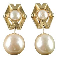 Karl Lagerfeld Baroque Faux Pearl Dangle Earrings
