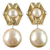 Karl Lagerfeld Baroque Faux Pearl Dangle Earrings