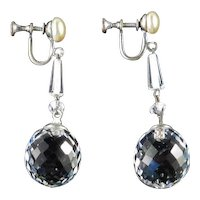 Art Deco Crystal Ball Faux Pearl Dangle Earrings