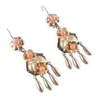 Victorian 14K Gold Coral Bead Dangle Earrings