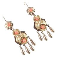 Victorian 14K Gold Coral Bead Dangle Earrings
