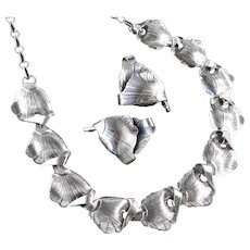 Danecraft Sterling Silver Necklace Earrings Demi Parure Set