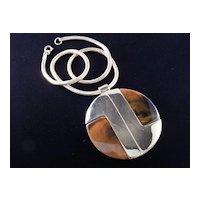 Lanvin Paris Modernist Lucite Faux Tortoise Shell Pendant Necklace '60s-'70s Vintage