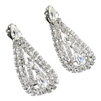 Vintage Rhinestone Swag Dangle Chandelier Earrings