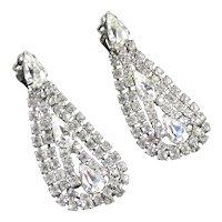 Vintage Rhinestone Swag Dangle Chandelier Earrings