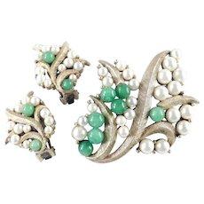 Tortolani Peking Glass Bead Faux Pearl Brooch Pin Earrings Demi Parure Set