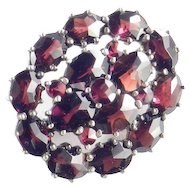 Antique 800 Silver Vermeil Rose Cut Bohemian Garnet Brooch Pin