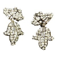 Art Deco Era Baguette Rhinestone Faux Pearl Dangle Earrings