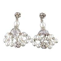 Dalsheim Rhinestone Faux Pearl Dangle Chandelier Earrings