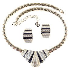 Christian Dior Rhinestone Enamel Necklace Earrings Demi Parure Set