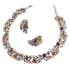Lisner Rhinestone Necklace Earrings Demi Parure Set