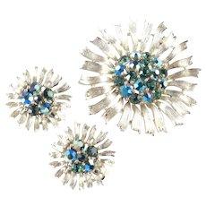 Lisner Rhinestone Daisy Brooch Pin Earrings Demi Parure Set Pristine