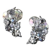Robert Rhinestone Crystal Disk Crescent Climber Earrings
