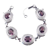 Danecraft Sterling Silver Art Glass Faux Amethyst Link Bracelet