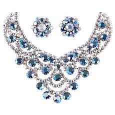 Aurora Borealis Rhinestone Bib Necklace Earrings Demi Parure Set