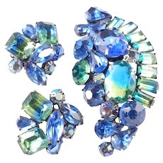 Kramer Bi Color Rhinestone Brooch Pin Earrings Demi Parure Set