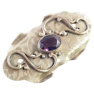 Victorian Embossed Brass Sash Brooch Pin Glass Faux Amethyst Applied Vines