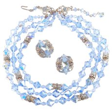 Three Strand Crystal Necklace Rhinestone Rondelle Earrings Demi Parure Set