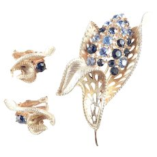 Lisner Rhinestone Brooch Pin Earrings Demi Parure Set