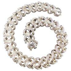 Trifari Rhinestone Rope Collar Choker Necklace