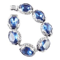 Baroque Revival Repousse Chased Blue Rhinestone Link Bracelet