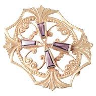 D. A. Hart Arts & Crafts / Nouveau Glass Faux Amethyst Sash Brooch Pin