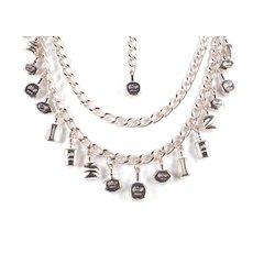 Vintage Perfume Bottle Charm Chain Belt / Necklace