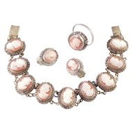 Vintage 800 Silver Shell Cameo Bracelet Earrings Ring Parure Set