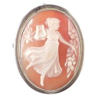 800 Silver Signed Shell Cameo Figural Pin Brooch Pendant Necklace