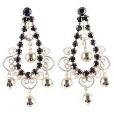 DeLizza & Elster Juliana Heart Scroll Rhinestone Bead Dangle Earrings Pristine