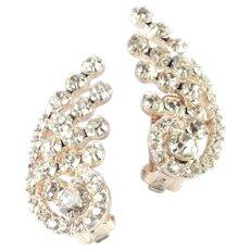 DeLizza $ Elster Juliana Rhinestone Climber Earrings Pristine