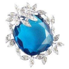 Sarah Coventry Holiday Ice Art Glass Rhinestone Brooch Pin