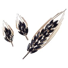 Napier Rhinestone Brooch Pin Earrings Demi Parure Set