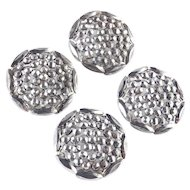 Victorian Set Four Large Matching Cut Steel Buttons