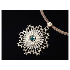 Art Deco Era Rhinestone Faux Pearl Medallion Choker Necklace