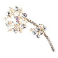 DeLizza & Elster Juliana Rhinestone Art Glass Flower Brooch Pin