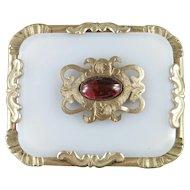 Edwardian Gilt Brass Translucent Glass Rhinestone Sash Brooch Pin