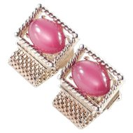 Swank Moonglow Cabochon Mesh Wrap Cufflinks