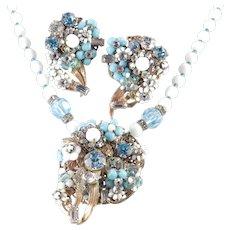 Robert Rhinestone Glass Bead Necklace Earrings Demi Parure Set