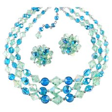 Crystal Glass Bead Necklace Earrings Demi Parure Set Pristine