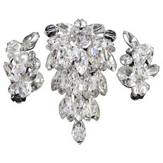 Kramer Rhinestone Glass Bead Dangle Brooch Earrings Demi Parure Set Rhodium Plate