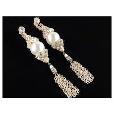 "Rhinestone Faux Pearl 4 1/2"" Shoulder Duster Dangle Chandelier Earrings"