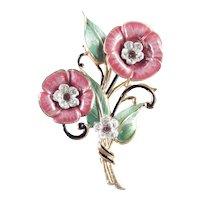 Enamel Rhinestone Pot Metal Flower Brooch Pin